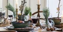 Christmas Dinner Table Decorating / Festive Holiday Table Ideas inspired by the Vintage Dinnerware from the online shops at VINTAGE AND MAIN  http://bit.ly/vintageandmain-tableware