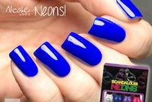 NEONS! / Scorching! Bright! Shocking! Vibrant!   Our Scandalous! and Notorious! Neons mini packs give you 3 mega-watt shades plus a white base coat that really makes the colors pop!  / by Nicole by OPI