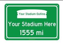 Unique Christmas Gifts for Sports Fans - Stadium Distance Road Signs / Replica road signs with customized distance to your favorite teams home field based on the location you set