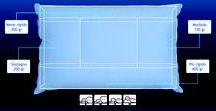 Cuscino Chiropratico / Composto da cinque aree a consistenza differenziata che gli donano, insieme alle caratteristiche strutturali della piuma, una conformazione in settori calibrati, che aiutano a non assumere posizioni errate durante il sonno, come il disporsi 'a pancia in sotto'. I due canali, superiore ed inferiore, diversificati nella dimensione e nel peso, consentono una migliore adattabilita' del cuscino in rapporto alla lunghezza del collo.