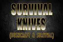 Survival knives / I'll admit it, I have an addiction to knives. On the surface all knives look about the same, but you will need different knives for bushcraft, self defense and hunting.