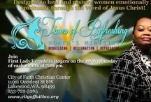Times of Refreshing Women's Ministry / Ladies lets fellowship! Join First Lady Verndella Rogers as she teaches Times of Refreshing Women's Ministry the 1st Wednesday of every month at 7:00 PM.    City of Faith Christian Center  11011 Occident St Sw  Lakewood Wa 98499   #women #Faith #God #Fellowship #blessings #love # joy #Forgiven #LakewoodWa  #girltalk  #Teacher #Washington #Upoerleft #Tacoma