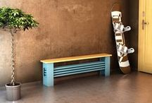 AQUA DESK - tubular radiator / The AQUA Desk radiator is a tubular radiator, which is situated horizontally with a beech desk above the radiator, allowing you to sit in the warm. Central heating radiator. Delivery: 6 weeks.