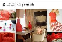 Trend.Color | Coquettish / Color Watch: Coquettish | Red alert. Products this striking shade of red have emerged from September Fashion Week runways and High Point Market debuts. This vivid hue is fiery but flirtatious. Even with its saturated tone, a hint of yellow gives a warm, inviting energy that allows it to work as classic or contemporary.