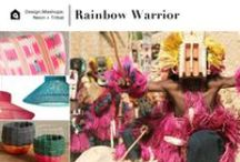 Design.Mashups | Rainbow Warrior / Neon + Tribal = Rainbow Warrior | Tapping into two trends that have been smoking hot for the last few seasons, this style blends the hand-crafted shapes and patterns of African tribal references with eye-popping shades of neon.