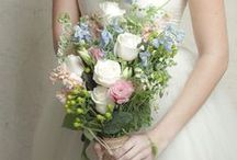 Summer Wildflower Wedding Ideas / Shades of blush, champagne and blue with flowers fresh from the garden lend a classic look to any wedding. DIY your own bouquets, boutonnieres, centerpieces and more with flower kits from itsbyu.com. Save money, add your own personal touch, and have fun!