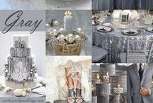 Wedding Themes - Silver Grey / Shades of grey are not the most obvious color choice for a wedding but it works surprisingly well, a grey wedding is pretty unexpected, but can be so romantically beautiful. The beauty of grey is that it is so versatile,  it complements so many colours, is brilliant in so many palettes yet is so beautiful by itself.