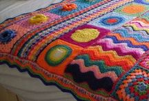 Crocheted blankets and pillows