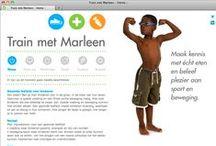 """Train met Marleen / Bij """"Train met Marleen"""" leren kinderen op een vrolijke, actieve en persoonlijke manier wat goede voeding is en waarom. Daarnaast bewegen en sporten ze samen met Marleen en doen ze oefeningen om weer sterk te worden. Dit wordt in een vertrouwde omgeving en op een manier gedaan die bij het kind en het gezin past."""