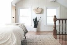 BEDROOM DECOR / White, Minimal, Scandinavian, Rugs, Colour, Baskets, Linen, Texture, Wood.