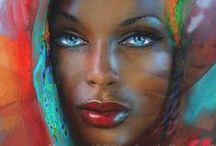 Angie Braun, Artwork / ART Shops:  https://1-angie-braun.pixels.com/ ✿ http://www.redbubble.com/people/angiebraun ✿ http://theo-danella.pixels.com ✿ http://www.redbubble.com/people/theodanella    ✿ #woman #painting #black #beauty #blueeyes #oilpainting #artsy #art #beautiful #blackbeauty #africa #redlips #sensual #sexy #amazing #girl #fineart #deco #smile #wonderful #mocca #blackpainting
