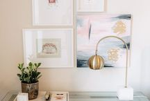 Home Office / White, gold, green, marble, glass