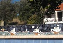 """The Chessterrace / One of the terraces in the Termas-da-Azenha: the Chessterrace. You can play chess on a big board outside, and sit under the nespereira-tree. Decorated with themes from the Persian fairy tale """"Princess Tcherkesse""""."""