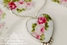 Broken China Jewelry Art / Family heirlooms of the past that are too good to be tossed.  Set in custom sterling settings in our studio.  Just a few pieces, past and present, from our collection at RoseBlossomCottage.com and others we admire.