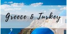 Greece & Turkey / The very best of what to see in Greece, Turkey, and those magical, blue & white islands of the Mediterranean. | What to see in Greece, Things to do in Turkey, where to stay #Greece, #Santorini, #Mykonos, #Cypress, #Cappadocia, #Turkey, #BlueDomeChurch