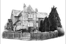 Pencil Drawings of Buildings / Pencil drawings of houses and buildings drawn from photographs