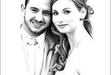 Pencil Portraits of Weddings / Pencil portraits drawn from photographs
