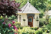 GARDEN.....SHEDS / So many choices and ideas....I need to make up my mind what I want to do with our little greenhouse...Right now it's Just A Potting Shed....