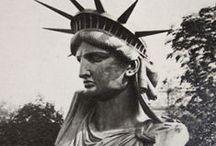 Histoire-La statue de la liberté /  Le projet fut confié, en 1871, au sculpteur français Auguste Bartholdi avec Gustave Eiffel. réalisation de 1882 à 1885 dans le 17éme arrondissement à coté du parc Monceau
