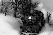 b&w trains and railroads