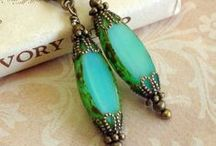Jewelry with Czech Glass Spindle Beads - Table Cut Ovals