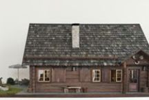 1:12 Scale Log Cabin / Blockhaus (dollhouse scale) / Architectural model log cabin made from foamboard, rustic modern in dollhouse scale. Diary of construction,  2014. Video https://www.youtube.com/watch?v=h4GOzNOAhTY