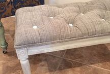 Upholstered benches / reupholstered and painted benches
