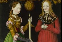 Cranach paintings / German 16th century noble clothing from painter Cranach elder or the younger