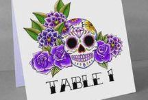 Sugar Skull Wedding Stationery / Sugar Skull / Day of the dead themed wedding stationery by Rae. www.raehenry.co.uk