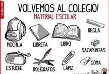 Vocabulario Material escolar / Aprender el vocabulario de español para el material escolar, lo que llevamos a clase y al colegio. Aprender palabras en Español