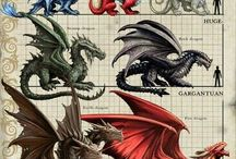Dragons and other mythical creatures and lizards