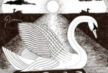Flora und Fauna / Vögel, Surreal, Jugendstil, Art Nouveau, Symbolismus, Blumen, Fische