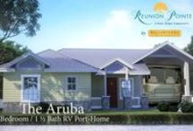 Reunion Pointe~RV Port Homes by Bella Terra / RV port homes at Reunion Pointe, designed by RVers, make the most of indoor and outdoor living, combining your motor coach with the convenience of vacation home.  View floor plans and take a virtual tour on our website http://reunionpointe.com/floor-plans/ Call us: 800-506-9824, to get more information and book your personal tour.