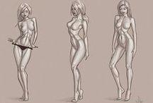 Desenhando - Imagem Feminina /  Anatomia feminina, estrutura muscular,diferentes partes do corpo, roupas,  poses,  e talvez fotos, se ajudarem no aprendizado.
