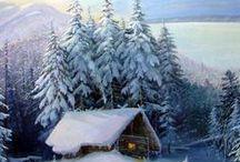 Домик в живописи.Зима