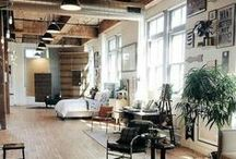 Loft Living /  Wide open spaces, raised ceilings, aged and exposed framework interiors, this is what loft living is all about! Inspired by the freedom to roam throughout quaint retrofitted home interior settings, a collection board of inspiring pins that make us pine for new creative environments!