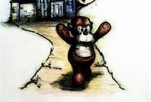 Doug Illustrations / Drawings and Photographs of Doug the monkey.