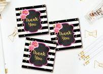 THANK  YOU CARDS & TAGS / Thank you cards & tags that coordinate with any Invites2Adore invitation design
