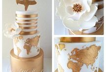TRAVEL WEDDING / A stylish white and gold travel wedding featuring a gold world map.