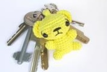 crocheted keychains, bag charms and more