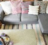 Blockprint and kelim rugs / Rug in kelim design or rugs with block printing in many different colours made in India.