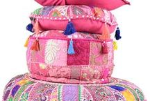 Poufs, cushions and round meditation pillow from patchwork / Poufs, cushions, meditation or yoga pillows made from recycled sari fabric and patchwork.