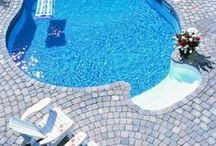 Pool Decks / Stone pavers are excellent for poolside decks because their textured surface make for a safe, comfortable, non-slip walking surface even when wet.