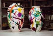 Jackson&Janet / Handcrafted vases in Majolica ceramic designed by Miltos Manetas. Glazed enamel decorations. Kiln temperature: 1800°F. Numbered series from 1 to 99.