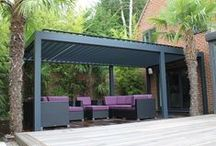 Outdoor Living Pod - Louvered Roof / Sun, wind, rain or even snow, our opening and closing louvered roof pergola canopies complete with optional integrated screens to the sides provide protection whatever the weather, turning the terrace into an extension of the property, an alfresco outdoor - indoor living space that can truly be used all year round.