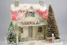 Putz Cardboard Glitter Houses