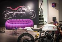 Sacha Lakic at Smets / Design City 2016 / The Sacha Lakic installation at Smets concept store in Luxembourg during the Design City - Luxembourg Biennale. The exposition is a good representation of the world of Sacha Lakic - featuring a careful selection of characteristic furniture designed for Roche Bobois side by side some of his collectible motorcycles.