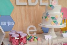 Eden's First Birthday - Geometric Pastel with Silver Pop! / First birthday party