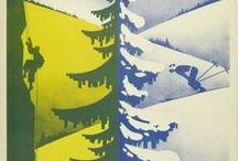 """Vintage Skiing and climbing Posters of Pralognan / Posters """"vintage"""" de la station de sports d'hiver et d'été de Pralognan la Vanoise"""
