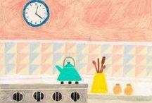 ilustração de banheiros e cozinhas